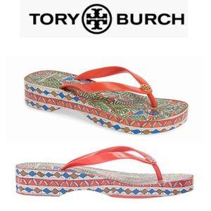 Tory Burch Wedge Flip Flop Sandal NIB Size 9